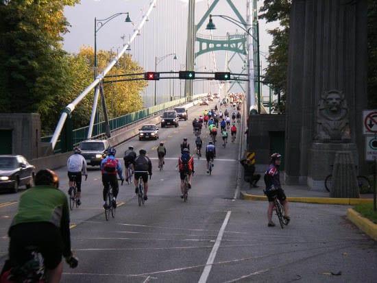 """GranFondo Whistler riders heading across Lions Gate Bridge"""
