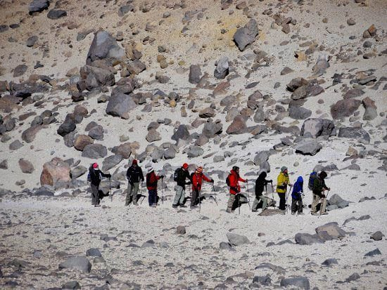 """A colourful group of young climbers"""