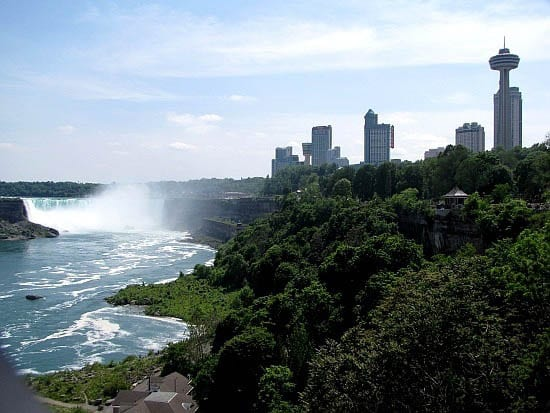 """A View of Niagara Falls and the touristy section of Niagara Falls"""