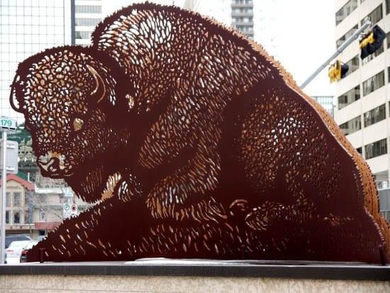 """Buffalo sculpture in downtown Calgary"""