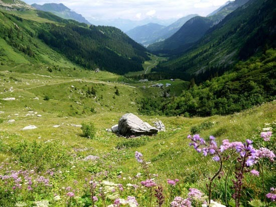 """""""A view looking down the valley back towards Les Contamines"""""""