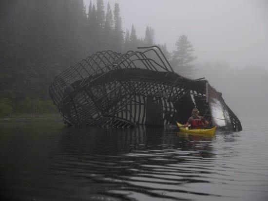 """Kayaking into the skeletal frame of the Billy Blake"""
