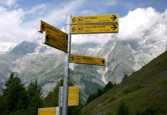 """Excellent signage along the Tour du Mont Blanc"""