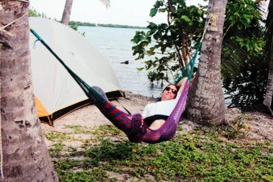 """My husband lounging in a hammock"""