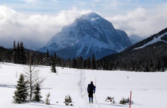 """Skiing towards Temple Mountain on the return"""
