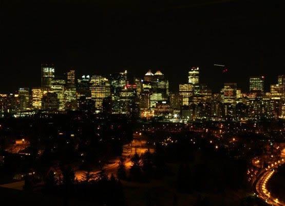 """Calgary downtown on a January night"""