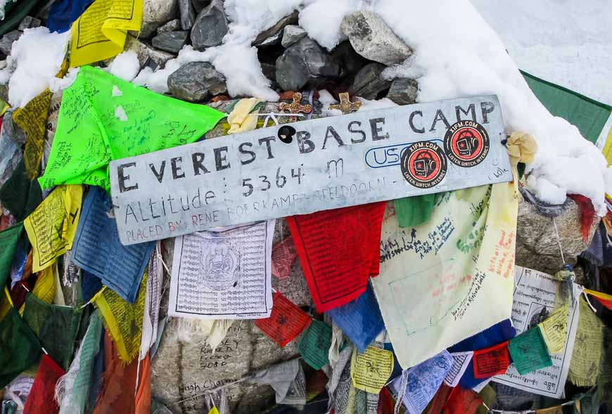 Mt Everest basecamp prayer flags