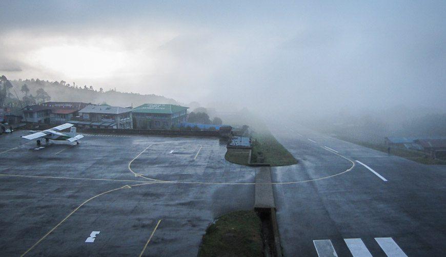 The nasty runway at Lukla Airport