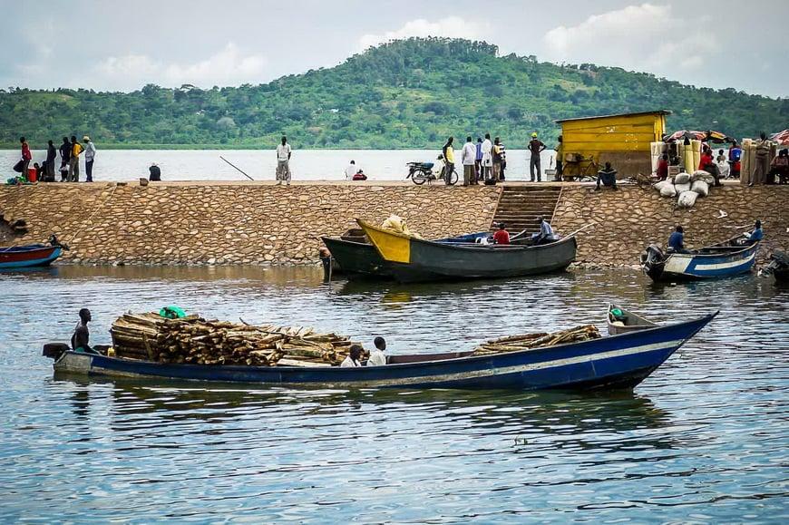 Laden boats in Uganda