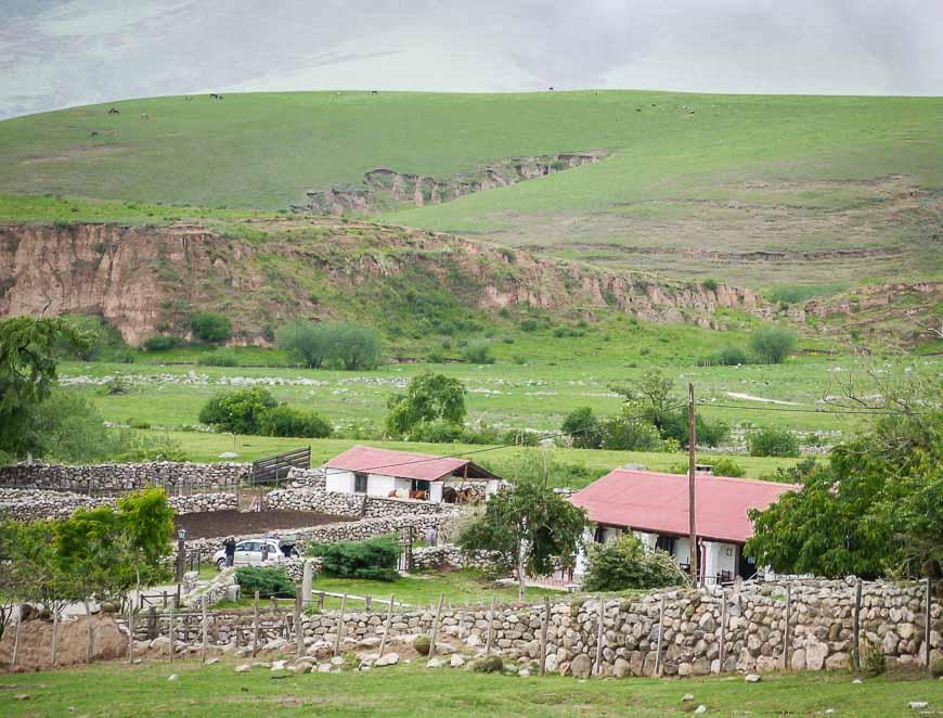 Lush, green countryside around Estancia de las Carreras