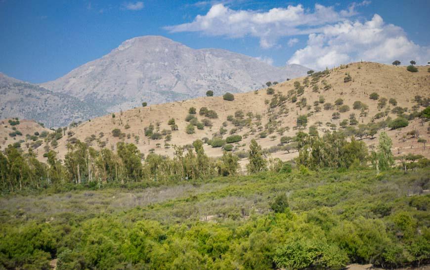 Greener landscape as you get close to Santiago seen on the Mendoza to Santiago bus
