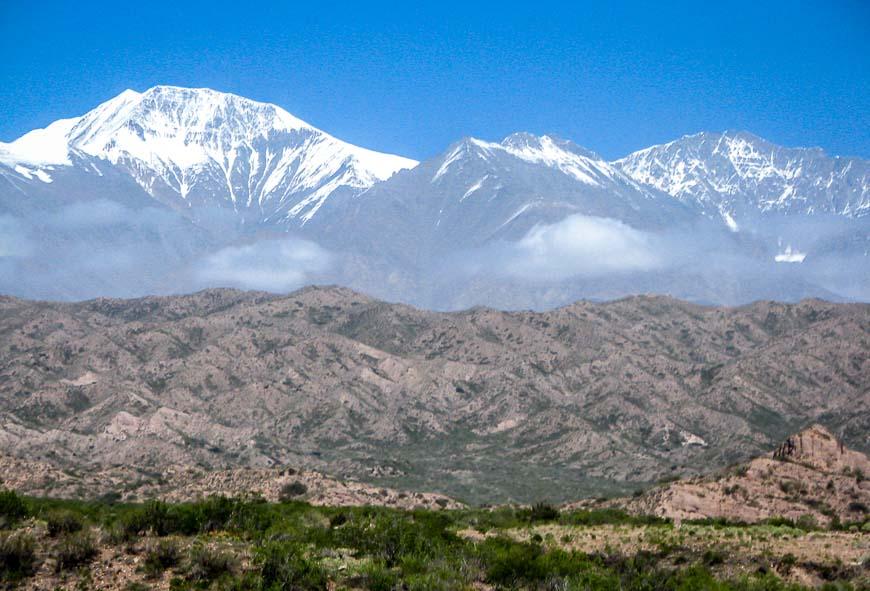 Mountain scenery seen on the Mendoza to Santiago bus