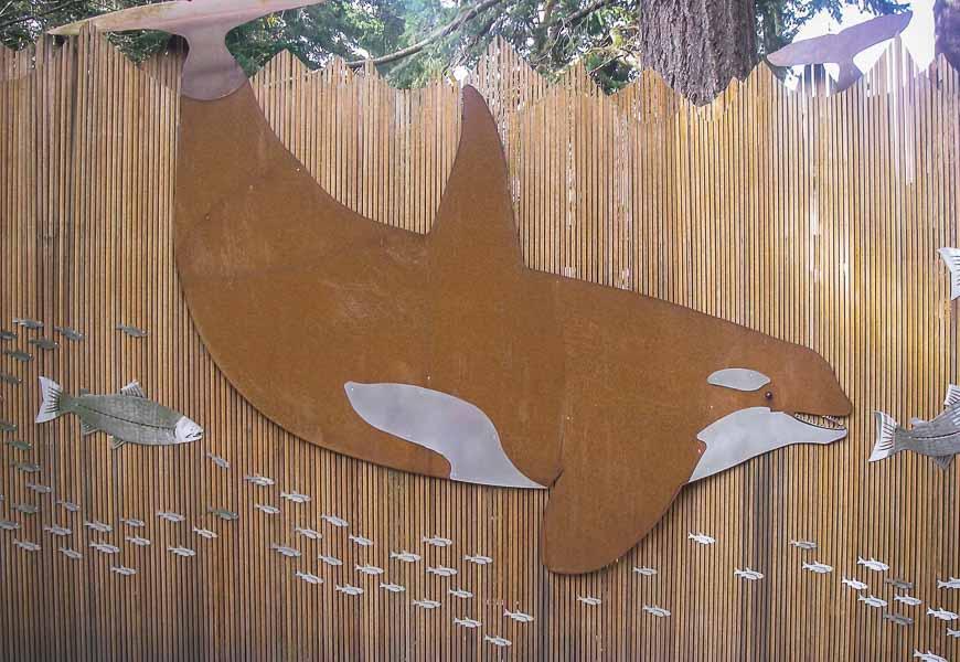 Artwork on a fence on Orcas Island