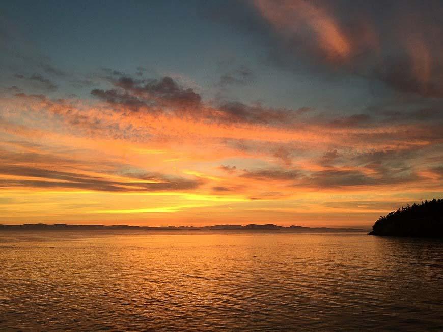 One of the beautiful San Juan Island sunsets