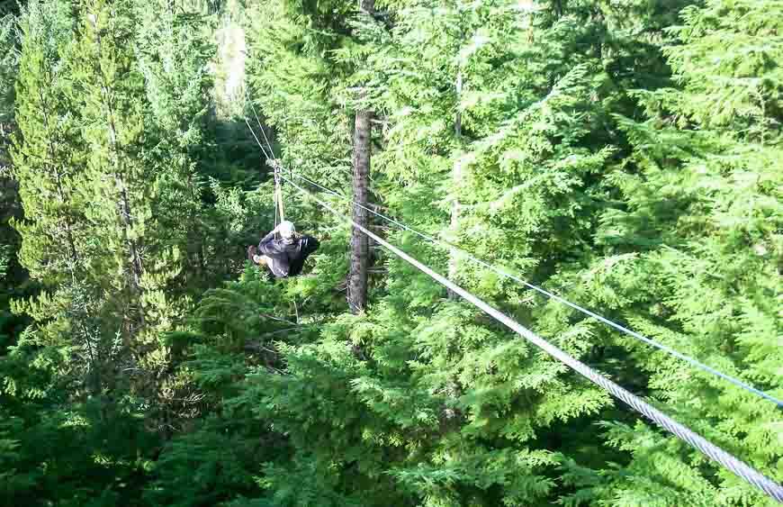 The zipline in Whistler