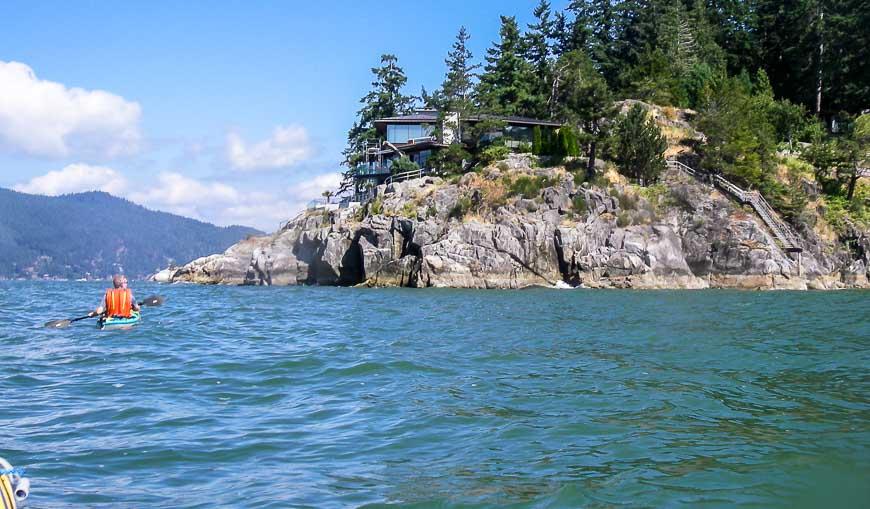 Kayak past multi-million dollar homes