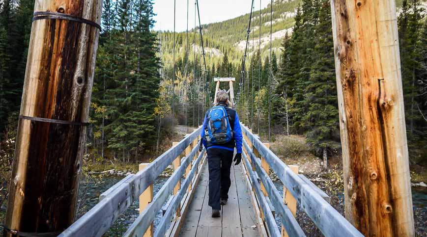 Crossing the Kananaskis River near the start of the Lillian Lake hike