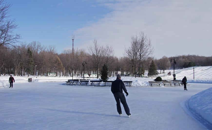 Skating To Music On Beaver Lake In Mont Royal Park