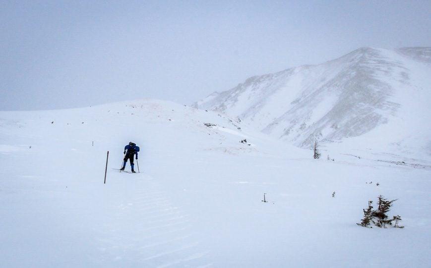 Skiing up towards Deception Pass
