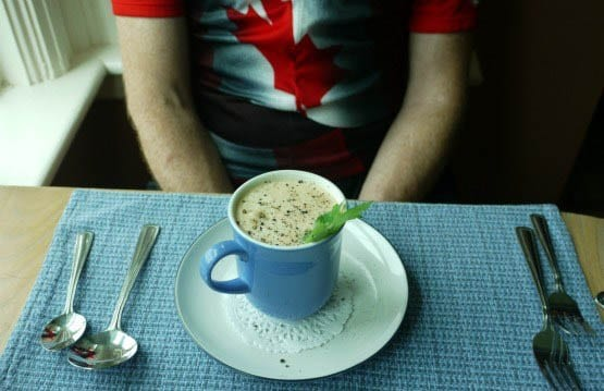 """A delicious cup of seafood chowder"""