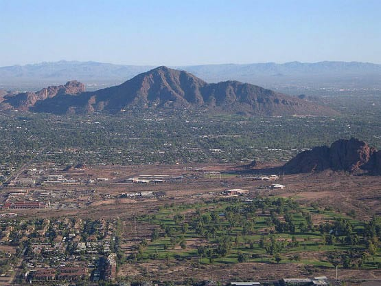 """Aerial view of Camelback Mountain"""