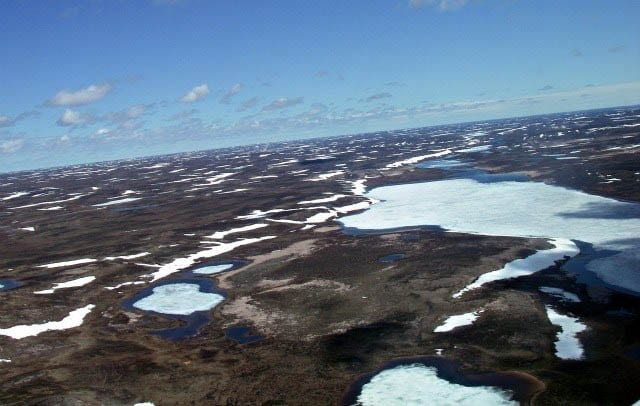 """The Northwest Territories from the air -dotted with lakes"""