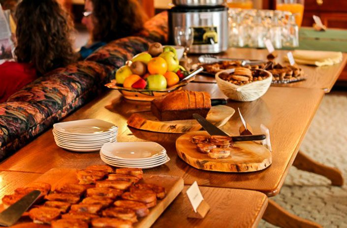 The mid-afternoon spread at Lake Ohara Lodge