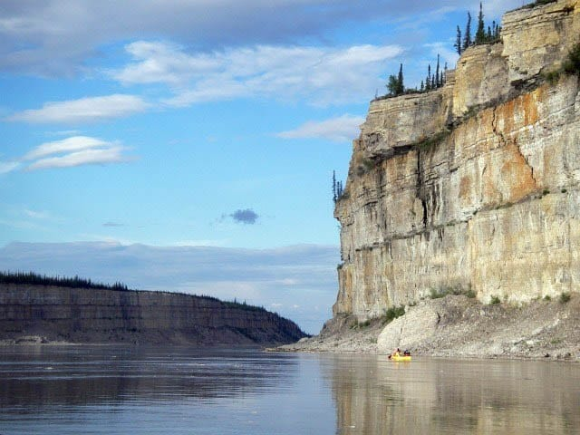 """Dramatic cliffs along the Mackenzie River"""