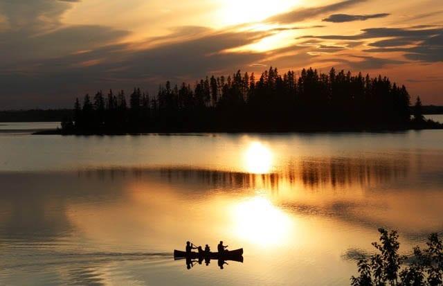 """""""Canoeing Astotin Lake at sunset"""""""