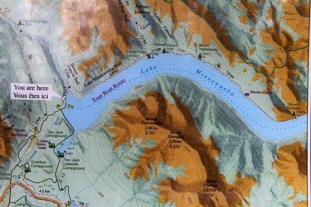 """Topo map of the route along Lake Minnewanka"""