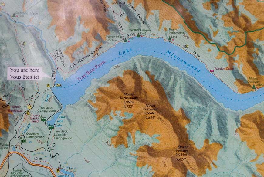 Topo map of the route along Lake Minnewanka