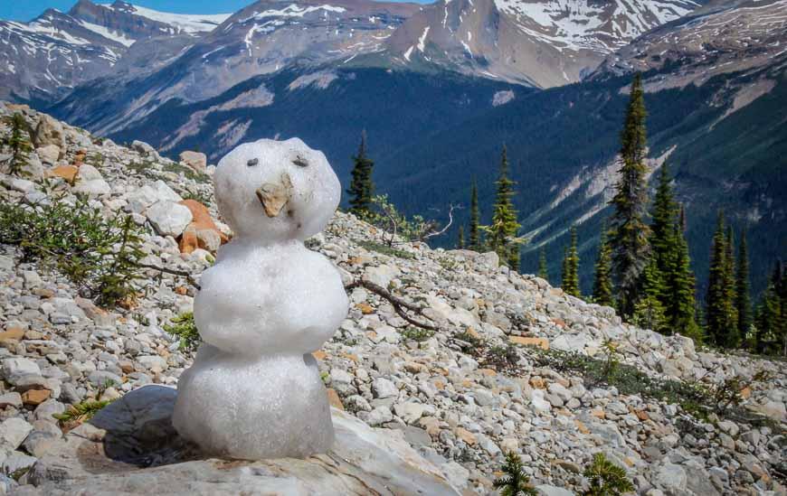 Someone had fun building this mini-snowman