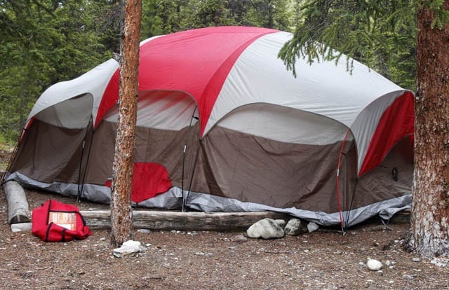 """A tent too big for the tent pad"""