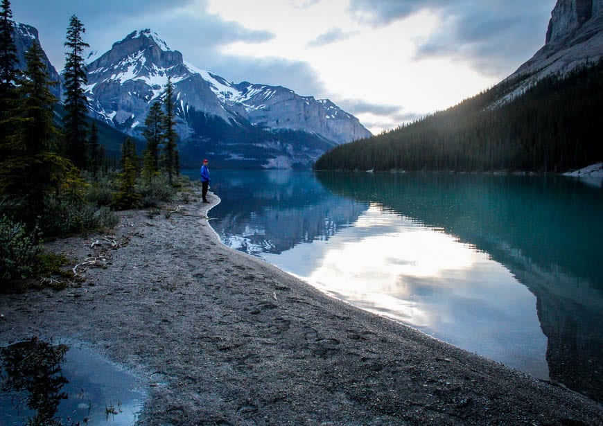 Beautiful Backdrop At The Campsite At The Far End Of Maligne Lake