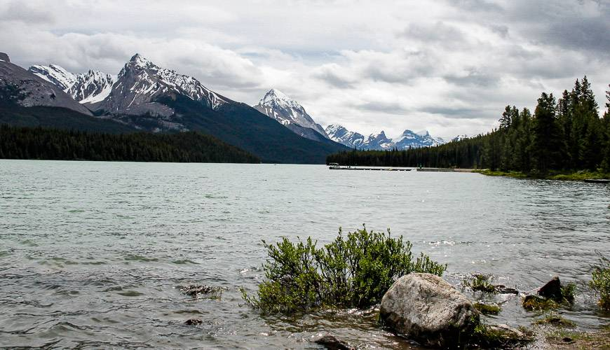 Our launch spot - we didn't get on the water to start kayaking Maligne Lake until 12:30 PM