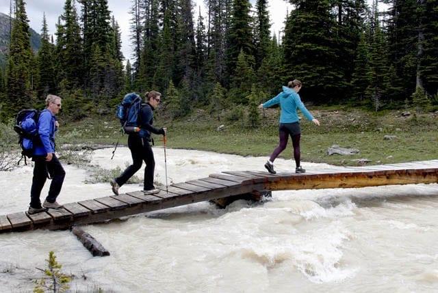 """Crossing the swollen river on a footbridge"""