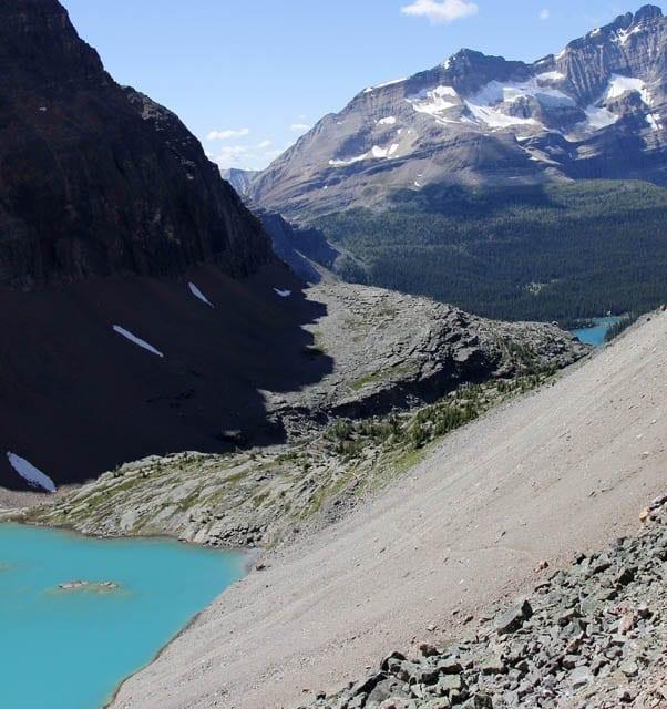 """The trail across the easy scree above Lake Oesa"""