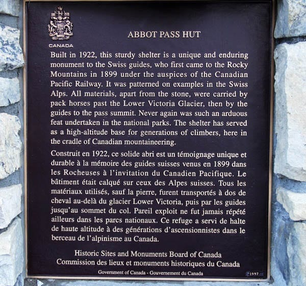 """Plaque at Abbott Pass Hut"""