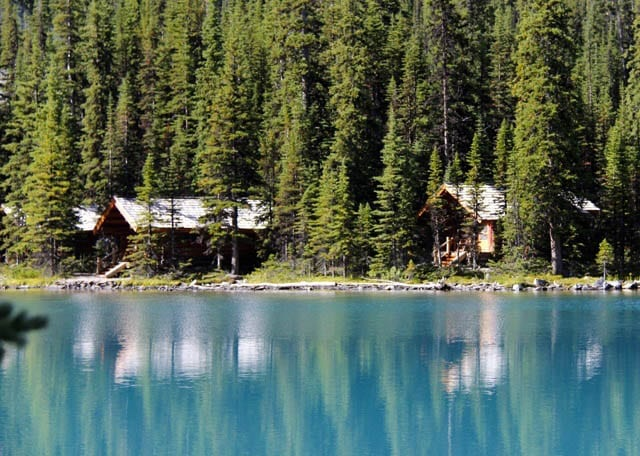 """Looking across to the cabins on Lake O'Hara"""