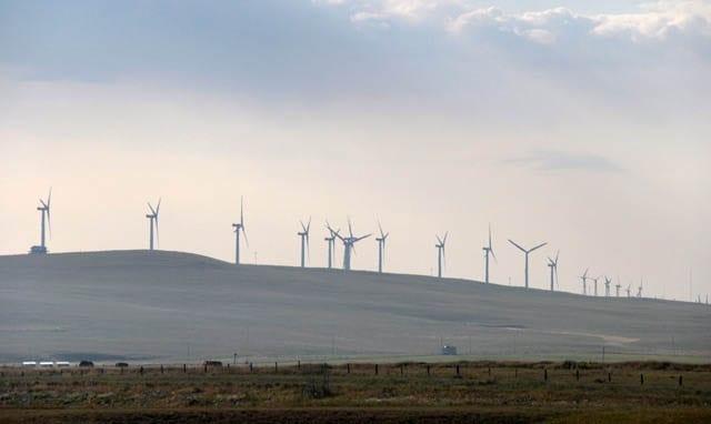 """Windmills on the horizon as you approach Pincher Creek"""