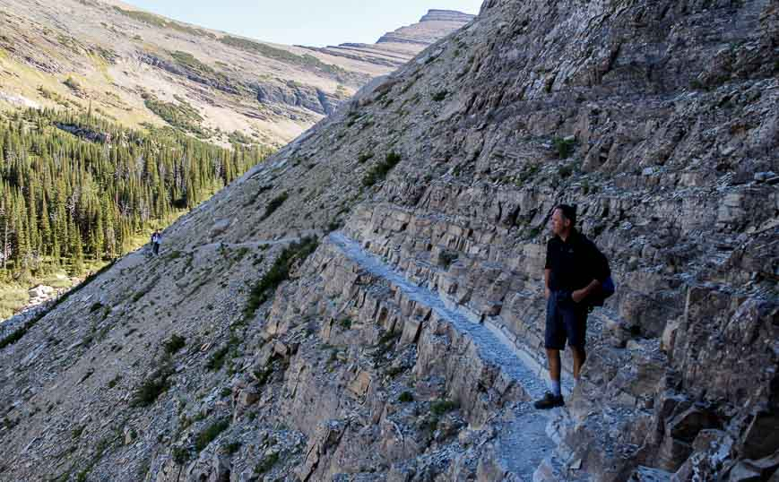 Crossing a narrow scree slope on route to the ladder