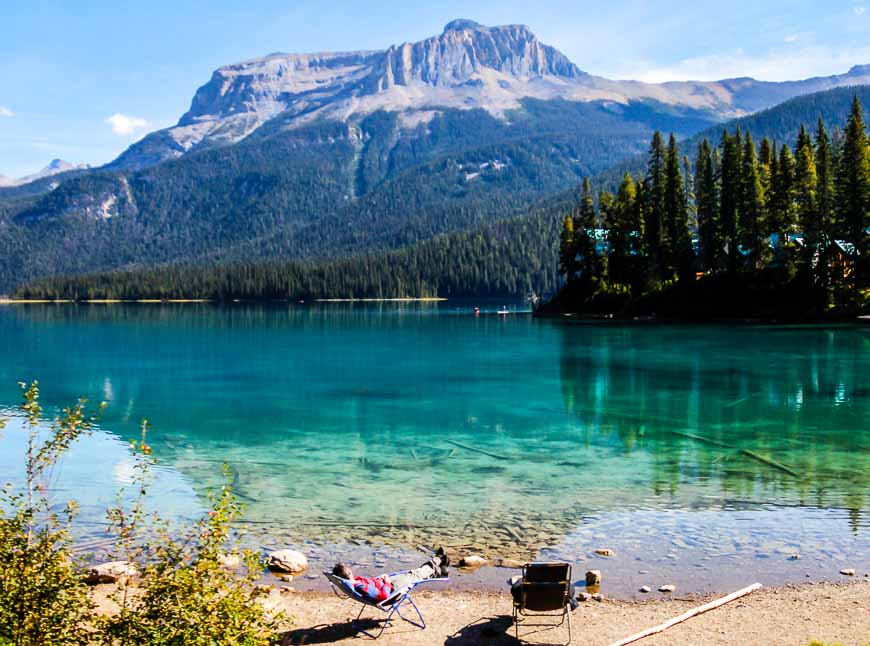 You might be more inclined to lounge beside Emerald Lake when you see this guy