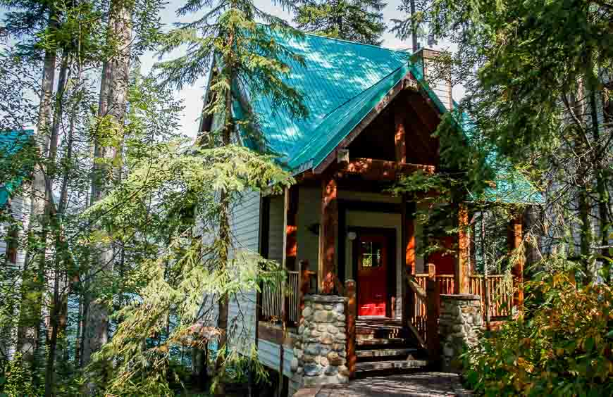 Complete the Emerald lake loop by walking past some of the cabins you can rent at Emerald Lake Lodge
