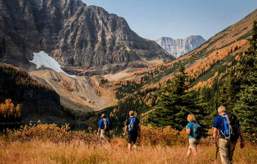 Hiking towards Taylor Lake in Banff National Park
