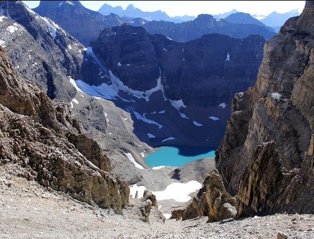 """The view down to Lake Oesa from Abbott Pass hut"""