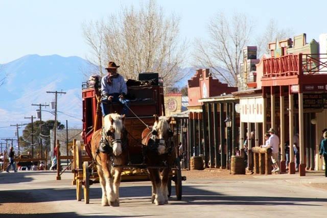 """Cowboy driving a wagon in Tombstone, Arizona"""