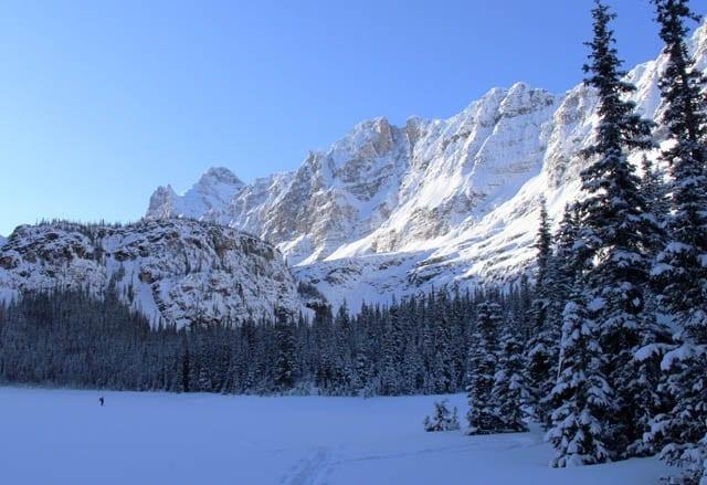 """Cross country skiing around Lake O'Hara Lodge in Yoho NP"""