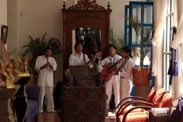 """Local musicians playing at the Hacienda Pinsaqui"""