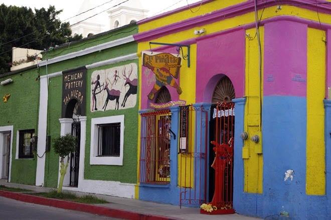 """""""Vividly coloured pottery shop in San Jose"""""""