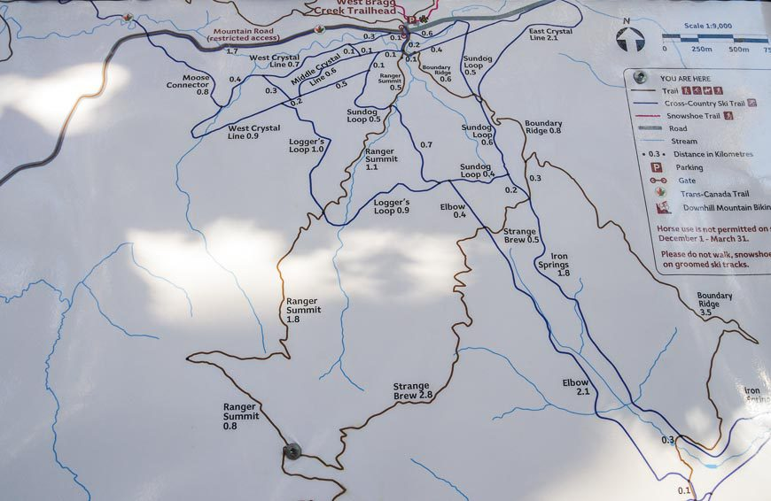 Map of trails on the south side of the parking lot